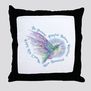 Hummingbird Heart Art Throw Pillow
